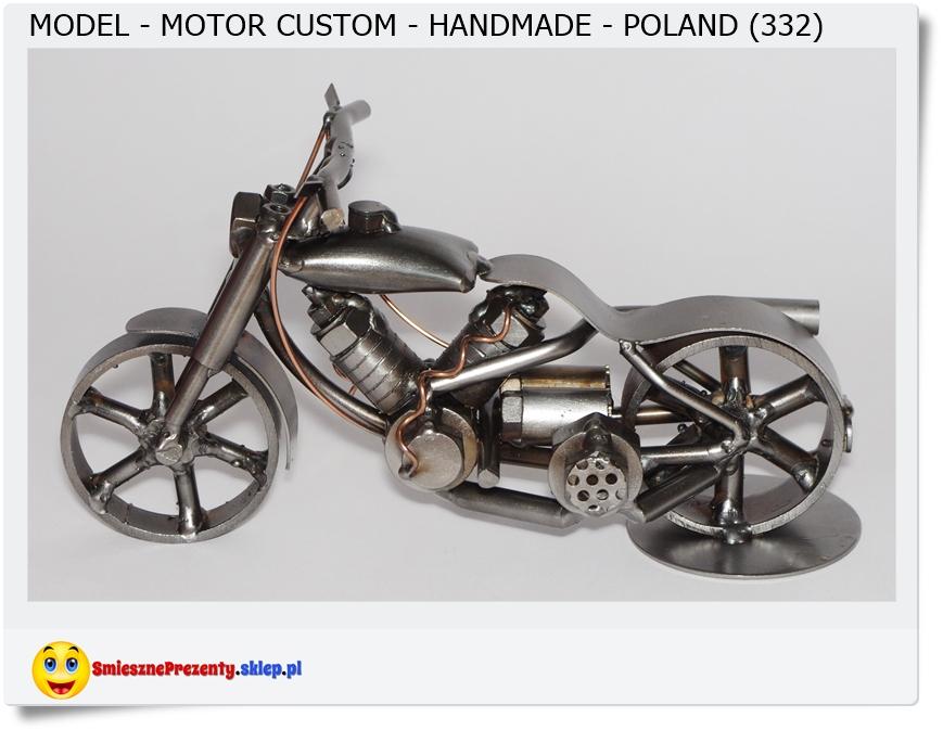 Metalowy model motocykla Custom metaloplastyka rękodzieło