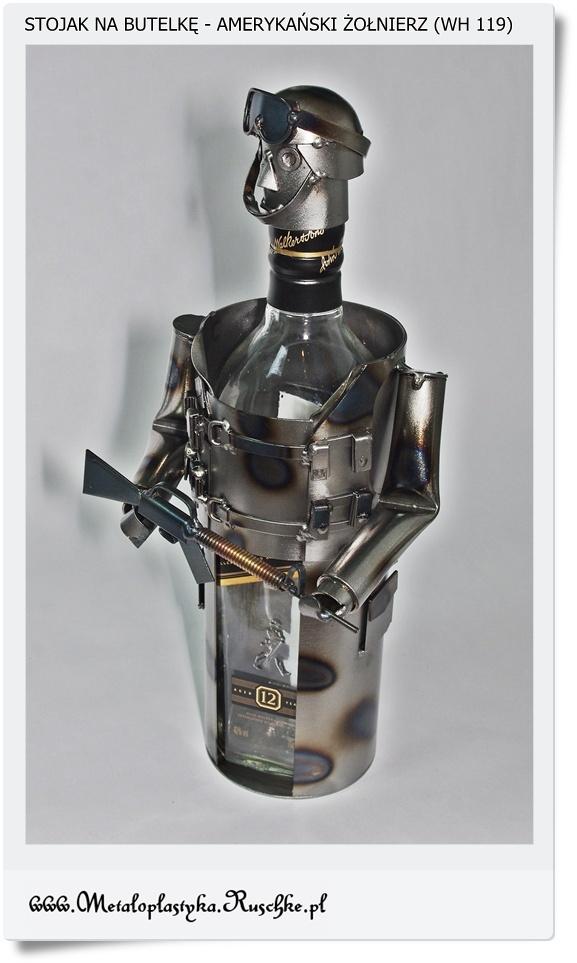 Żołnierz amerykański stojak na butelkę wina