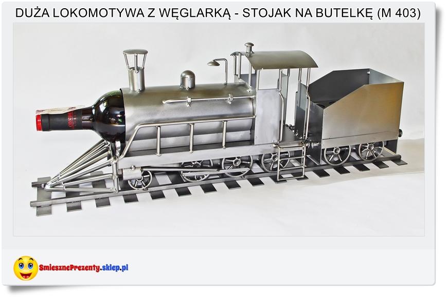 Duża lokomotywa stojak na wino, alkohol