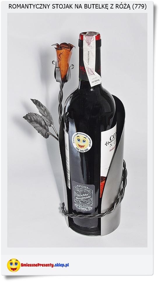 stojak na wino róża dla zakochanych