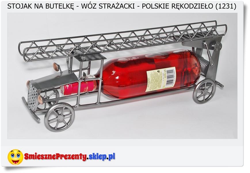 wóz strażacki stojak na butelke dla strażaka